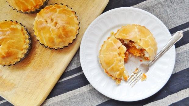 roast pumpkin, red pepper, pesto goats cheese pie