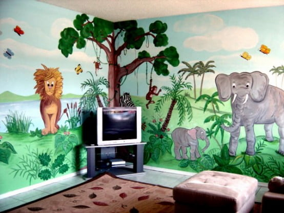 Charming-Jungle-Themed-Kids-Room-Design-with-Elephant-and-Lion-Figured-Walls