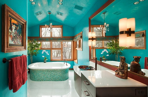 Gorgeous-freestanding-bathtub-accentuates-the-color-scheme-of-the-bathroom-in-Blue-Interior