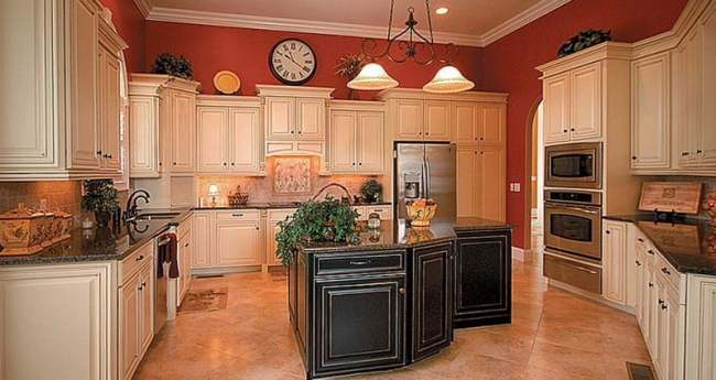 Great-Glazing-Kitchen-Cabinets-With-Unique-Ceiling-Lamp-And-Black-Kitchen-Table-Island-And-White-Cabinet