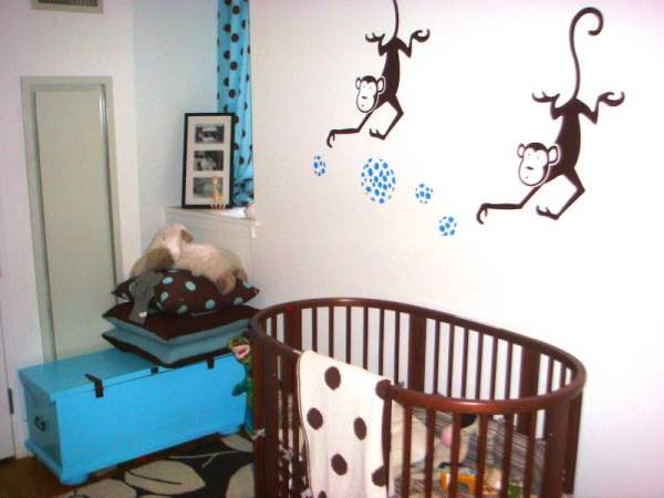 Wonderful Brown And Blue Nursery Interior Wall Interior Baby Blue Color