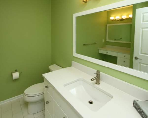 beautiful-green-bathroom-white-vanity-austin-lake-residence