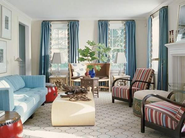 bright-blue-curtains-for-living-room