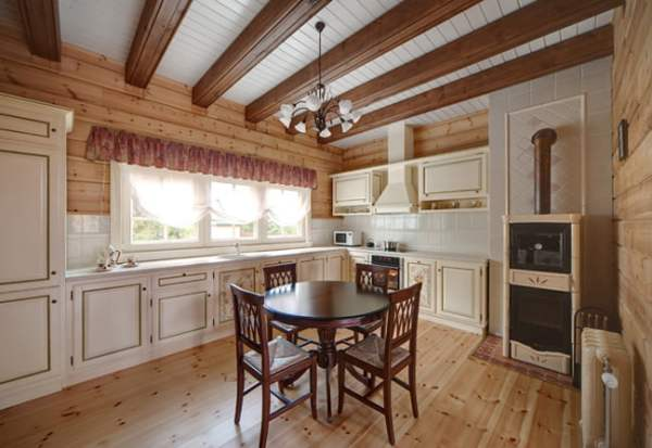 Cozy-Wooden-Country-House-Kitchen-and-Dining-Room-Interior