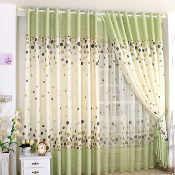 Cute-Dots-Print-Grass-Green-Country-Style-Curtains-Two-Panels-CT0010