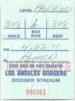 1-Dodger Stadium ticket 2