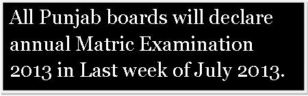All Punjab Boards Matric Result 2013 date declared