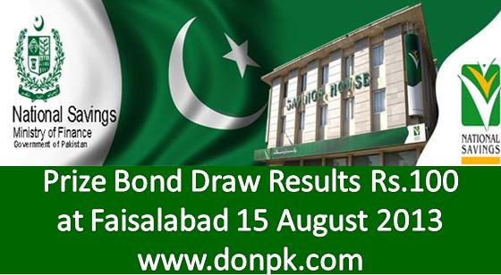 Bond Results of Rs. 100 held at Faisalabad