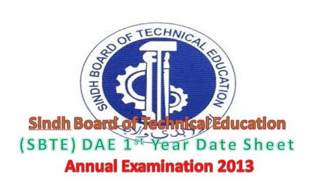 Sindh  Technical board  1st year DAE (Morning & Evening) Date Sheet  Annual Examination 2013