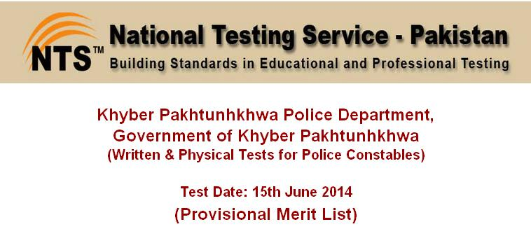 KPK Police NTS written  test physical test dates