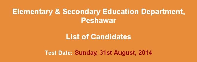Elementary  secondary Education dept peshawar  candidates list