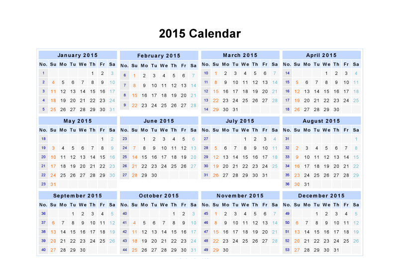 monthly date wise calendar  year 2015