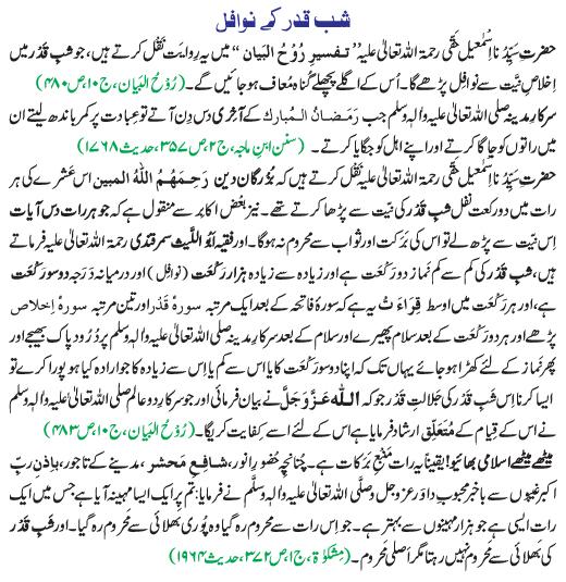 shab e Qadar prayers nawafil