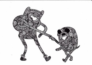 zentangle_finn_and_jake_by_tomiipl-d782nul
