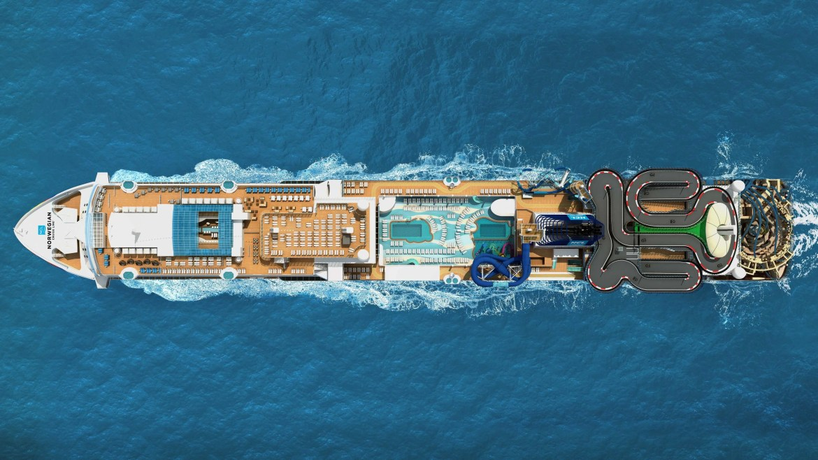 Norwegian Encore - Birds Eye Aerial Rendering