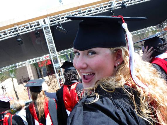 Very excited at my commencement ceremony! Photo by my wonderful thesis chair, Dr. Bluestein.