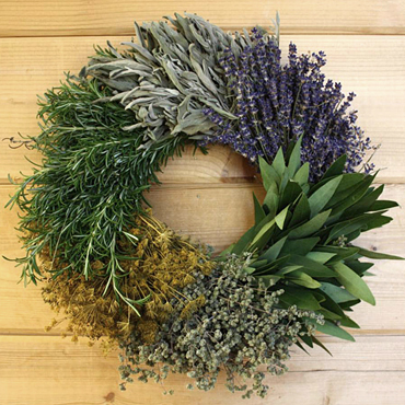 Gorgeous Up Close Shot of the Kitchen Herb Wreath by Creekside Farms