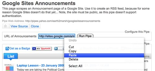 Yahoo! Pipes - paste Google Sites 'announcements' page URL
