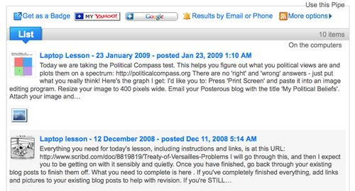 Google Sites 'announcements' page in Yahoo! Pipes