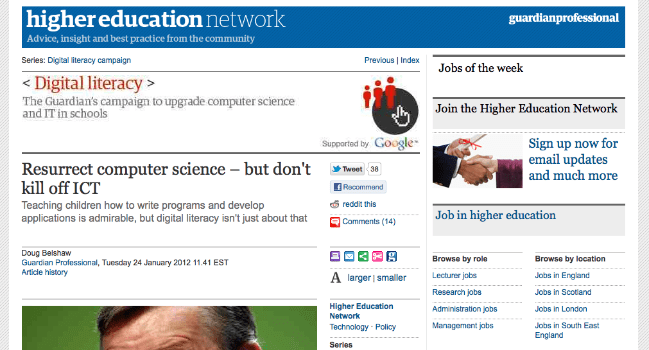 Guardian digital literacies article