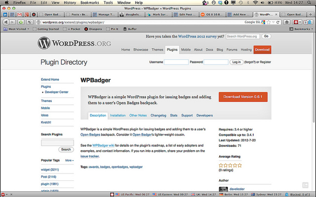 Install the WPBadger plugin