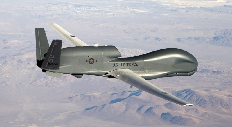 An RQ-4 Global Hawk unmanned aircraft like the one shown is currently flying non-military mapping missions over South, Central America and the Caribbean at the request of partner nations in the region. (U.S. Air Force photo/Bobbi Zapka)