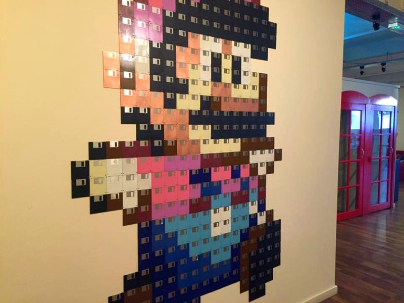 Super Mario made from disks