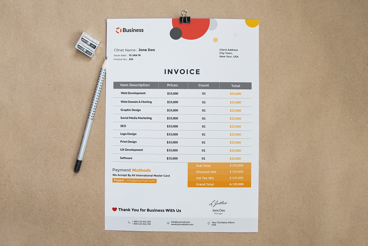 Free Invoice Template PSD Download   Download PSD Free Invoice Template PSD