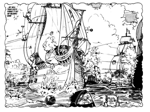 "A panel from ""Spoofer McGraw"" for the Sparky Book, 1972, drawn by Gordon Bell."