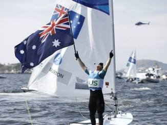 Australian laser Olympian Tom Burton celebrates after winning a gold medal in Rio. Photo: World Sailing
