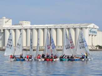 The cadet fleet racked up in front of the iconic Port Lincoln silos at last year's Tri Series event.