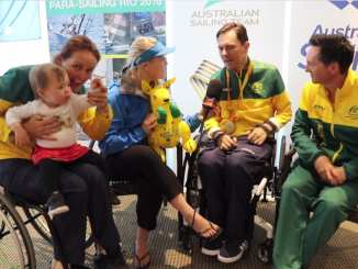 Paralympic medalists Liesl Tesch and Daniel Fitzgibbon with coach Geoff Woolley (right) being interviewed by Nicole Douglass.