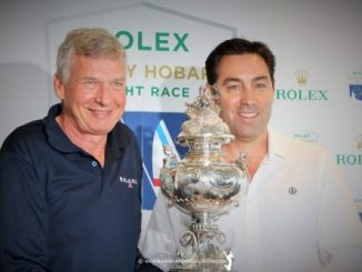 Last year's Tattersall's Cup winning skipper Paul Clitheroe and eight-time line honours winner on Wild Oats XI, Mark Richards, at the launch of this year's Rolex Sydney Hobart Yacht Race.