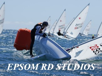 The breeze picked up for the fourth day of championship racing at the Adelaide Laser Nationals. Photo: Epsom Rd Studios.