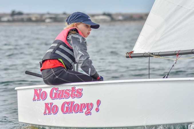 Kelly Steel was the first girl in the Green Fleet at the SA Optimist States last year.