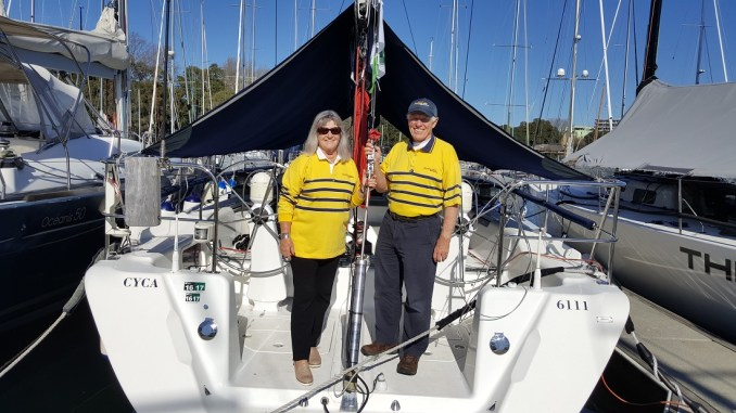 Denise and Colin Wilson aboard Never a Dull Moment.
