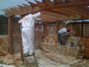 Pergola Being Sealed