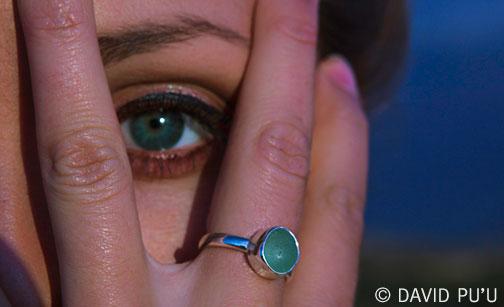 MINI Single Bezel, Single Band sea glass ring in Sea Foam