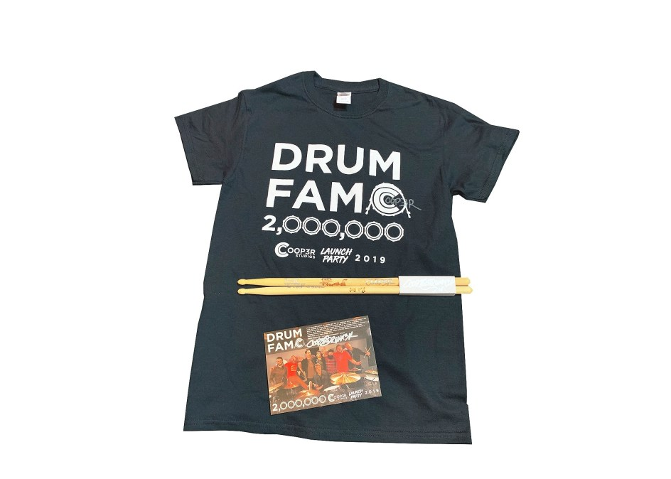 "Signed Sticks, ""Drum Fam"" Shirt, & Card + Stickers (ONLY 13 LEFT) 021"