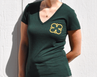 Gold Clover on Green Tee by Dragonflight Dreams