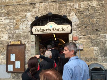 Almost through the LONG line at the World Champion gelateria!