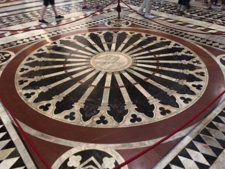 1 of 56 panels of marble mosaics on the floor of the cathedral in Siena. We were lucky enough to visit when they were all uncovered/displayed.