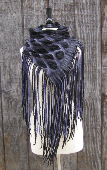 BlckBts Dusty Purple CrissCross Ombre Scarf: nuno felted, dreaded fringe