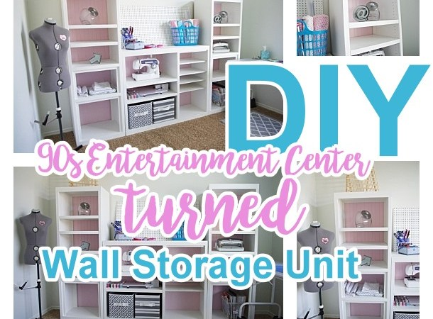 DIY 90s Entertainment Center Turned Craft Room Storage Organizer Wall Unit Furniture Makeover - Do it Yourself Project Tutorial