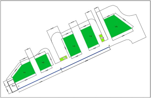 Plano de distribución de los elementos del sistema en la zona de estudio