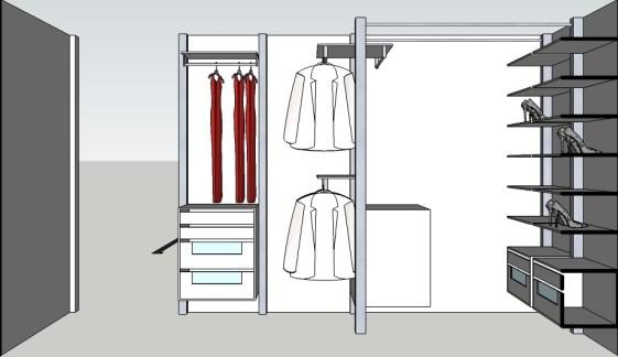 Inloopkast ontwerp met vrijstaande kastenwand.
