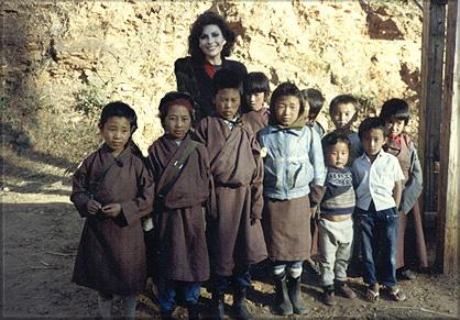 Dr. Gross with children in Bhutan