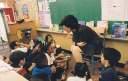 Dr. Gross reading to a classroom in the Houston Independent School District