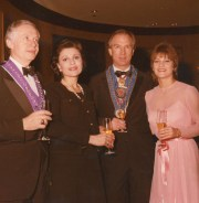 Jenard Gross and Dr. Gross, President Mary Nell Recklin inducting Jenard Gross into the Chaine des Rotisseurs Society, The Oldest International Gastronomic Society