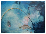 "Rainbow Bridge, 2012 devalued currency collage, ink, gouache and cyanotype on paper over wood, 22"" x 30"" (Private collection)"